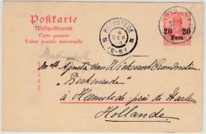 DP Türkei - 20 P. a. 10 Pfg. Germania GA-Karte n. HOLLAND, Smyrna 1908 n.