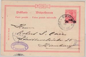 DP Türkei - 20 P. a. 10 Pfg. Germania/Reichspost GA-Karte Smyrna - Hamburg 1904