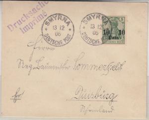 DP Türkei - 10 P. a. 5 Pfg. Germania Drucksache Smyrna - Duisburg 1906