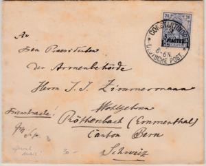 DP Türkei - 1 P. a. 20 Pfg. Germania/Reichspost Dienstbrief i.d. SCHWEIZ 1902
