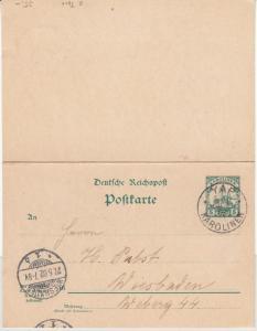 Karolinen - 5/5 Pfg. Schiffszeichung Antwort-GA-Karte Yap - Wiesbaden 1902