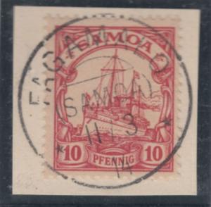 Samoa - 10 Pfg. Schiffszeichnung Luxus-Briefstück Fagamalo 1914