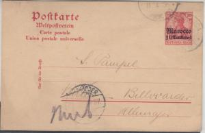 DP Marokko - 10 C. a. 10 Pfg. Germania GA-karte Casablanca - Billwärder 1906