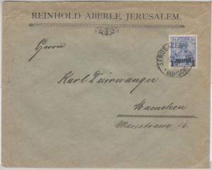 DP Türkei - 1 P. a. 20 Pfg. Germania/Reichspost Type II, Brief Jerusalem 1905 n.