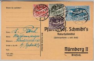 Oberschlesien - 60 Pfg. u.a., Karte Rynik - Nürnberg 17.2.22