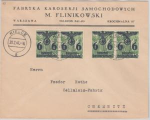 Generalgouvernement - 4x6 Gr. Überdruckausg. Firmenbrief Kielce Chemnitz 1941