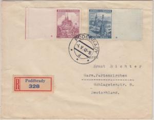 Böhmen & Mähren - 1,20+2,50 K. Randstück Leerfeld Plattensternchen Einschreiben