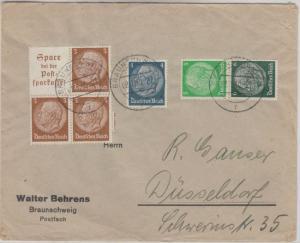 DR - Hindenburg Zusammendrucke Brief Braunschweig - Düsseldorf 1940