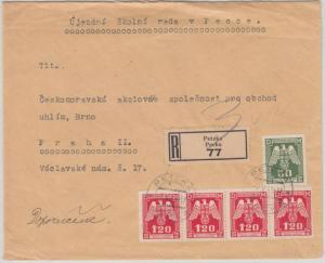 Böhmen & Mähren - 4x1,20 K+  50 H. Dienstbrief Einschreiben Petzka Prag 1943