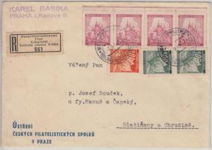 Böhmen & Mähren - 4x1 K Freimarke u.a. Einschreibebrief Prag Telegraphenamt 1941