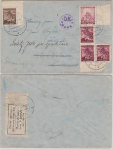 Böhmen & Mähren - Devisenzensur Prag Brief i.d. SLOWAKEI Dolni Hbity 8.1.41 n.
