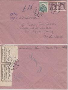 Böhmen & Mähren - Devisenzensur Prag Brief id. SLOWAKEI Prag Bratislava 18.11.39