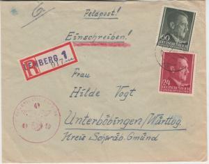 Gen. Gouv. - 60+24 Gr. AH Einschreibebrief Lemberg - Unterböbingen 1944