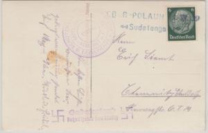 DR - Sudentenland Ober-Polaun 1938 L2 u. Propaganda-L2 Karte n. Chemnitz