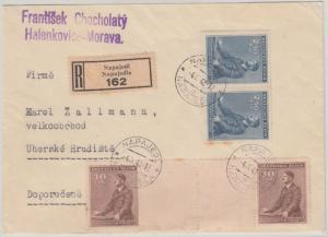 Böhmen & Mähren - 30 H. Geb. AH Zwischenstegpaar u.a. Einschreiben Napajedl 1942