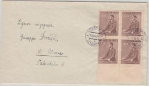 Böhmen & Mähren - 30 H. Geb. AH 4er-Block Unterrand Brief Litentschitz 1942