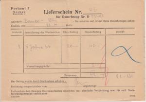Gen.Gouv. Polen - Postamt 3 Krakau Lieferschein f. Postwertzeichen 1944