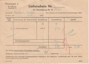 Gen.Gouv. Polen - Postamt 3 Krakau Lieferschein f. Postwertzeichen 20.10.1944