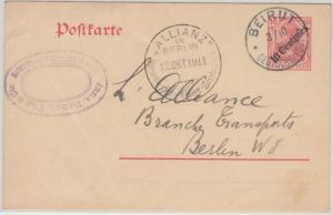 DP Türkei - 10 C. a. 10 Pfg. Germania Ganzsache Zudruck Beirut - Berlin 1911