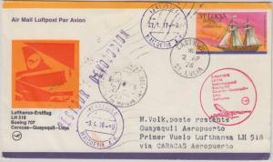 St. Lucia - 1/2 C. Segelschiff LH 1st-Flug Caracas Lima 1976 Zuleitung Etappe !!