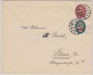 DR - 8+15 Pfg. Nothilfe Wappen Zusammendruck Brief Nossen - Löbau 1930