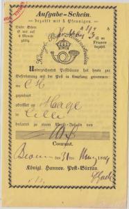 Hannover - Bevensen 1864 Aufgabeschein f. Chargebrief n. Celle
