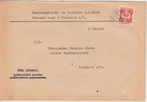 Böhmen & Mähren - 80 H. Dienstmarke Ortsbrief Ruadnitz a.d. Elbe 1941