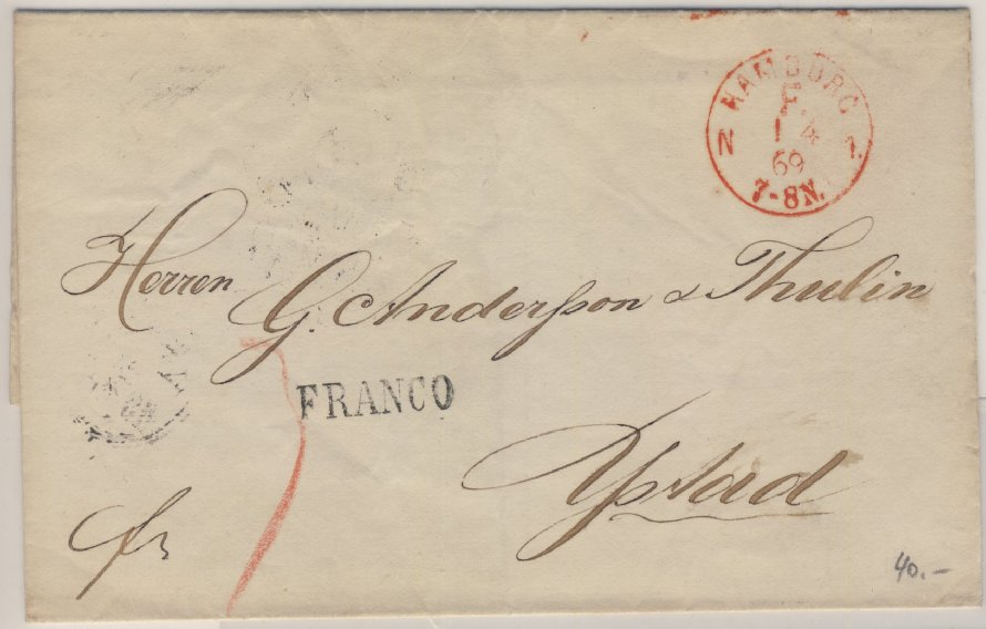 NDP/Schweden - Hamburg F N1, roter Franco-K1 a. Brief n. Ystadt 1869 0