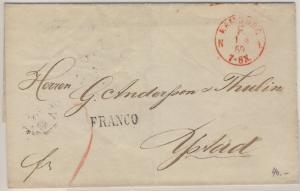 NDP/Schweden - Hamburg F N1, roter Franco-K1 a. Brief n. Ystadt 1869