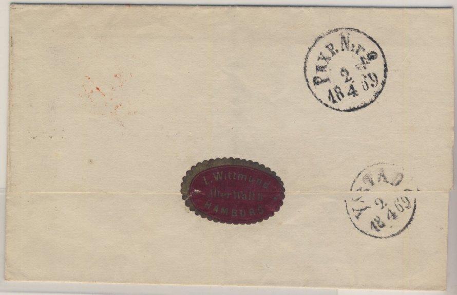 NDP/Schweden - Hamburg F N1, roter Franco-K1 a. Brief n. Ystadt 1869 1