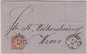 NDP/Österreich - 1 Gr. dst., Brief K1 Hamburg IIA - Wien 1868 - ohne Inhalt