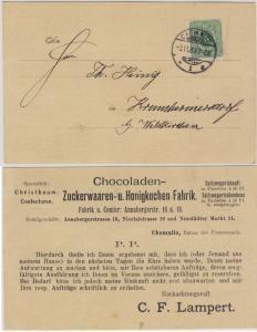 DR - 3 Pfg. Verterteravis Chemnitz - Krumhermersdorf b. Waldkirchen 1889