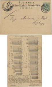 DR - 3 Pfg. Werbedrucksache n. ÖSTERREICH Karte Dresden-Altst. 4 - Salzburg 1881
