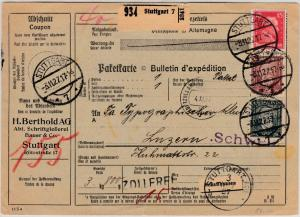 DR - 60+80 Pfg. Stephan u.a., Paketkarte i.d. SCHWEIZ, Stuttgart 7 - Luzern 1927