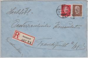 DR - 50+10 Pfg. Hindenburg/Ebert Einschreibebrief Darmstadt TA (!) - FFM 1930