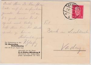 DR - 15 Pfg. Hindenburg, Werbekarte n. LIECHTENSTEIN, Kaufering - Vaduz 1931
