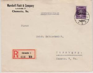 DR - 40 Pfg. Leibniz, Einschreibebrief Chemnitz - Nürnberg 1927, ohne Inhalt