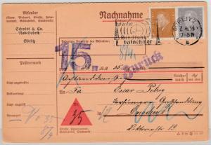 DR - 20+3 Pfg. Ebert, Nachnahmekarte/Fristenstpl.+ Retour Görlitz - Dresden 1933