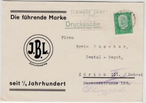 DR - 5 Pfg. Hindenburg, Werbedrucksache (Dental-Fabrik) i.d. SCHWEIZ, Leipzig n.