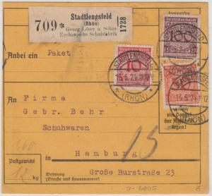 DR - 100+50+10 Pfg. Korbdeckel, Paketkarte Stadtlensfeld (Rhön) - Hamburg 1924