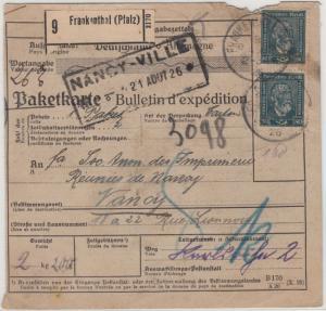 DR - 2x80 Pfg. Stephan, Paketkarte n. FRANKREICH, Frankenthal - Nancy 1926