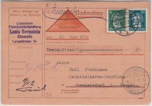 DR - 20+8 Pfg. Beethoven, Nachnahmekarte Chemnitz - Leukersdorf 1927