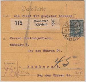 DR - 80 Pfg. Stephan Paketkarte Hannover-Kleefeld - Hamburg 1924