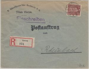 DR - 60 Pfg. Stephan Postauftrag Einschreibebrief Viersen - Rheinbach 1925