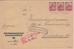 DR - 3x15 Pfg. Nothilfe Bauwerke II Einschreibebrief Langenneufach München 1932
