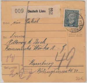 DR - 80 Pfg. Stephan Paketkarte Deutsch Lissa - Hamburg 1924