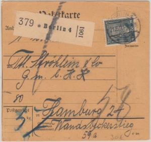 DR - 80 Pfg. Stephan Paketkarte Berlin N4 - Hamburg 1924