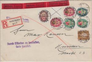 DR - Nothilfe Wappen Zusammendrucke u.a. Einschreiben Eilbrief Berlin-Rudow 1929