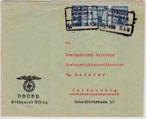 DR - 3x4 Pfg. Dienst Adler/Sockel, Brief Bahnpost Garmisch-München, (Uffing) -