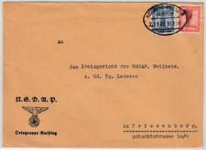 DR - 4+8 Pfg. Dienst Adler/Sockel, Brief Bahnpost Augsburg-Weilheim, (Raisiting)